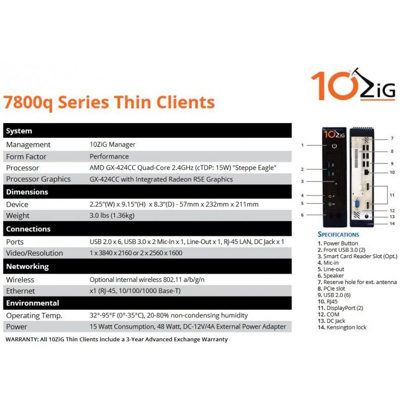 10ZIG 4GB (7872q-4200) PeakOS Linux Thin Client - Actualis